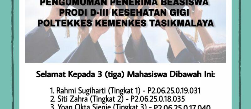 Penerima Beasiswa Prodi D III Kesehatan Gigi Tahun Akademik 2019/2020